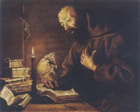 saint francis at prayer by trophîme (theophisme) bigot the elder