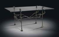 table basse trapézoïdale: modèle aux cerfs et aux chiens by diego giacometti