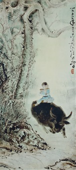 boy with flute on a buffalo by lee man fong