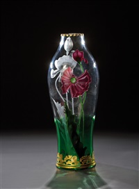 ''florida'' - vase mit rotem mohn by gräfliche harrach'sche glasfabrik (co.)