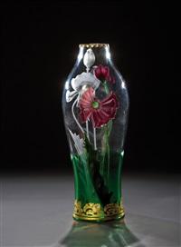 ''florida'' - vase mit rotem mohn by gräfliche harrach'sche glasfabrik (co.)