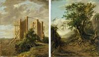 zwei gemälde. landschaft mit großer eiche und wanderer; hausbau (2 works) by salomon rombouts