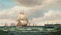 reger schiffsverkehr vor schloß kronborg by edvard skari