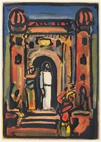 christ devant la ville (from passion) by georges rouault