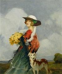 bildnis einer dame mit hund by geza udvary