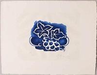 fleurs sur fond bleu by georges braque