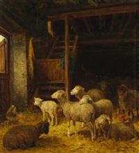 schafe im stall by albert heinrich brendel