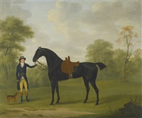 a lady's saddled bay hunter, held by a groom by john nost sartorius