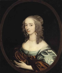 portrait of a lady, bust-length, in a blue dress with a rust wrap, wearing a pearl necklace and earrings, in a painted oval by john hayls
