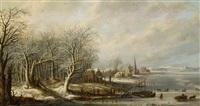 weite winterliche flusslandschaft mit blick auf eine hafenstadt by denis van alsloot