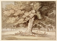 herd of young deer under an ancient oak by thomas rowlandson