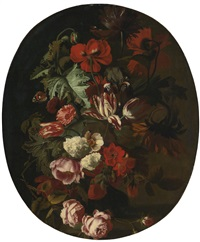 roses, tulips, hydrangea and other flowers in an urn with butterflies by simon pietersz verelst