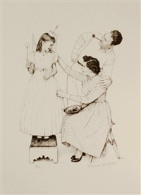 woman at home (angel fitting) by norman rockwell