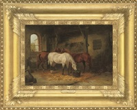 three horses in a stable by julius adam (unattributable)