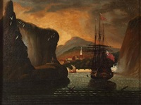 british ship in harbor by thomas chambers