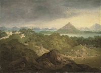 pushkar, india, with a parade of figures, elephants and horses in the foreground by charles (sir) d'oyly