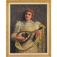 portrait of a lady with a mandolin by james carroll beckwith