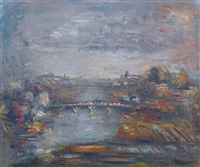 evening cityscape by aleksandr grigor'evich tyshler