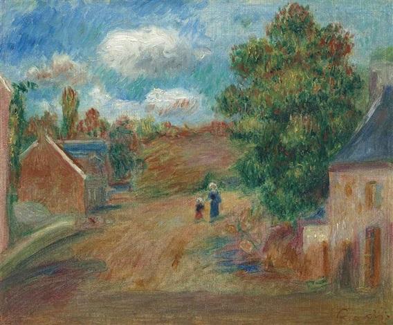 paysage entrée de village avec femme et enfant by pierre auguste renoir