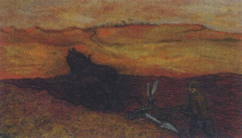 ploughing at sunset by sir francis cyril rose