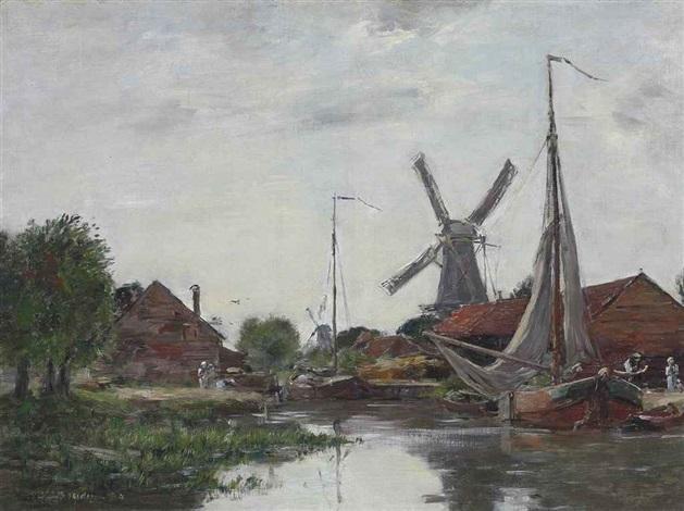 dordrecht, moulin sur la meuse by eugène boudin