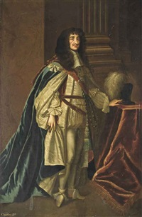 portrait of king charles ii (1630-1685), full-length, in garter robes, standing beside a column by sir peter lely