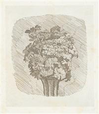 zinnie in un vaso a strisce by giorgio morandi