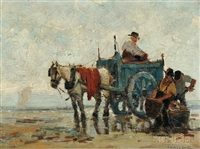 kelp harvesters with horse cart by anthony thieme