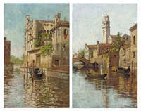 a gondolier on a venetian backwater (+ a gondola moored on a venetian canal; pair) by romolo tessari