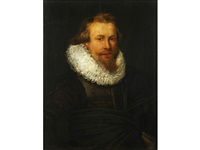 portrait of a gentleman, half-length, in black costume by thomas de keyser