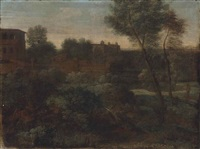 a wooded italianate landscape with a figure on a path in the foreground, a town beyond by gaspard dughet