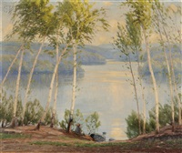 springtime in the birches, otter pond, n.h by gustave adolph wiegand