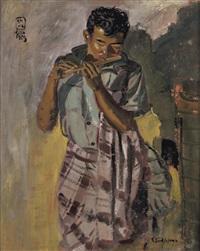 pemain suling (flautist) by s. sudjojono