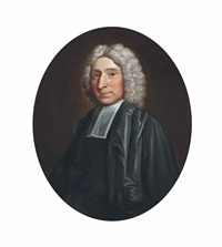portrait of a cleric, half-length, in robes by john wollaston