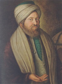 portrait of abraham de lontesano wearing a brown jacket, an ivory waistcoat and a turban, beside a globe by f.w. güte