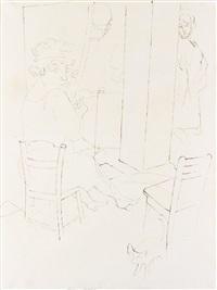 mädchen im schlafzimmer; figurengruppe by george grosz