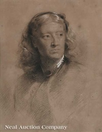 portrait of a victorian lady with a high collar and brooch by samuel laurence