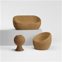 rattan furniture (suite of 3) by isamu kenmochi