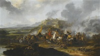 a cavalry battle before a fortified hill-town by pieter wouwerman