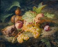 stillleben mit weintrauben, pfirsichen und brot by simon saint-jean