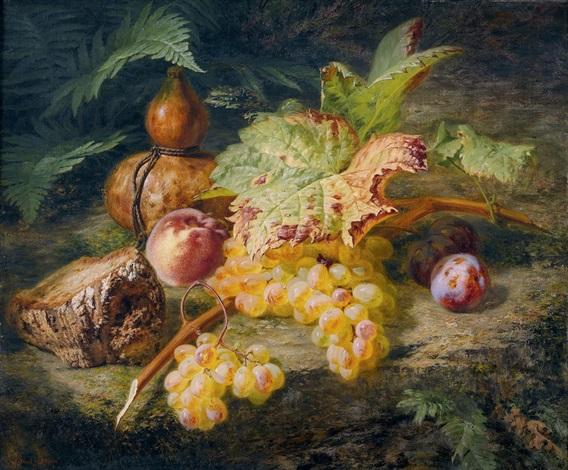 stillleben mit weintrauben pfirsichen und brot by simon saint jean