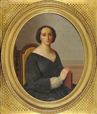 portrait d'une belle jeune femme assise tenant un livre by gabriel tyr