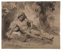 reclining male nude in a landscape by hendrick joseph dillens