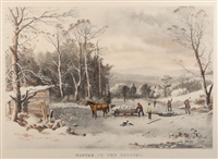 winter in the country, getting ice by currier & ives (publishers)