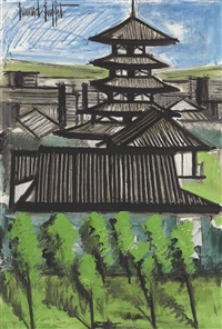temple kofuku-ji-nara by bernard buffet