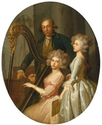 a group portrait with a young woman playing the harp, another young woman singing, and a gentleman, possibly their music instructor, standing behind by marie-victoire lemoine