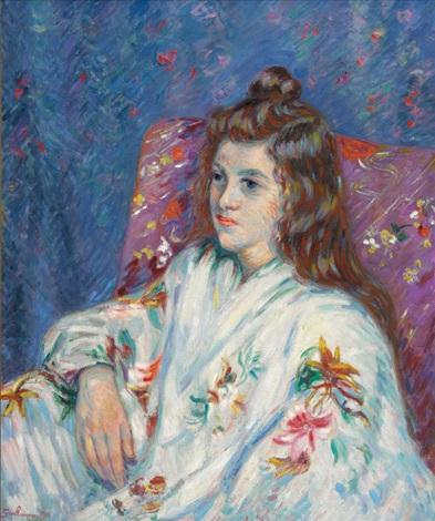 portrait de mlle guillaumin en kimono by armand guillaumin