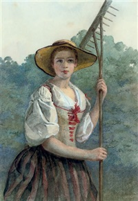 young girl preparing to work in the garden on a summer's day by louis de mansfield-absolon