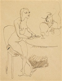femmes assises à une table by jules pascin