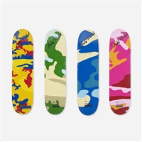 urban camoflauge skateboard decks (set of 4) by andy warhol